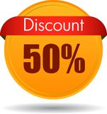 50 Discount web icon. Vector illustration isolated on white background - 50 Discount web button icon Royalty Free Stock Images