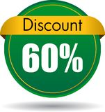 60 Discount web icon. Vector illustration isolated on white background - 60 Discount web button icon Royalty Free Stock Photography