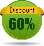 60 Discount web icon. Vector illustration isolated on white background - 60 Discount web button icon Stock Images