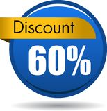 60 Discount web icon. Vector illustration isolated on white background - 60 Discount web button icon Stock Image