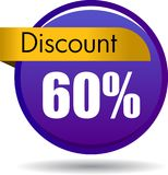60 Discount web icon. Vector illustration isolated on white background - 60 Discount web button icon Royalty Free Stock Photos