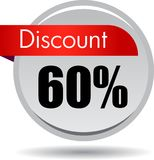 60 Discount web icon. Vector illustration isolated on white background - 60 Discount web button icon Royalty Free Stock Image