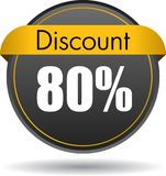 80 Discount web icon. Vector illustration isolated on white background - 80 Discount web button icon vector illustration