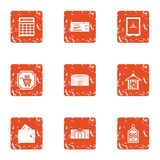 Discount week icons set, grunge style. Discount week icons set. Grunge set of 9 discount week vector icons for web isolated on white background Stock Illustration