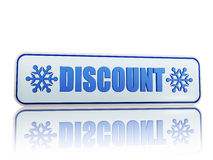 Discount white banner with snowflakes symbols Royalty Free Stock Images
