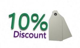 Discount %10 on white , 3d render Stock Images