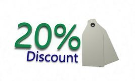Discount %20 on white , 3d render. Discount 20 on white , 3d render working Royalty Free Stock Images