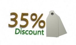 Discount %35 on white , 3d render. Discount 35 on white , 3d render working Royalty Free Stock Images