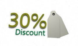 Discount %30 on white , 3d render. Discount 30 on white , 3d render working Stock Images