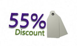 Discount %55 on white , 3d render. Discount 55 on white , 3d render working Royalty Free Stock Images