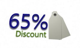 Discount %65 on white , 3d render Royalty Free Stock Image