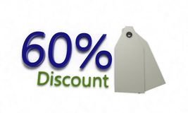 Discount %60 on white , 3d render Royalty Free Stock Image