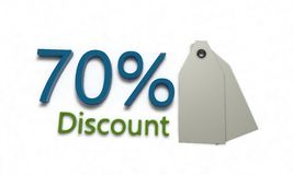 Discount %70 on white , 3d render. Discount 70 on white , 3d render working stock illustration
