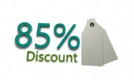 Discount %85 on white , 3d render Stock Photo