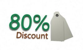 Discount %80 on white , 3d render. Discount 80 on white , 3d render working Stock Illustration