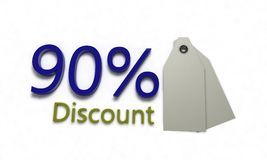Discount %90 on white , 3d render Stock Images
