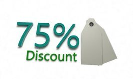 Discount %75 on white , 3d render. Discount 75 on white , 3d render working Royalty Free Stock Photo