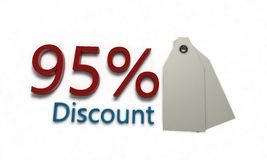Discount %95 on white , 3d render. Discount 95 on white , 3d render working Royalty Free Stock Photography