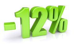 12% discount on a white. Green 12% discount icon on a white background. 3d rendered image Royalty Free Stock Photos