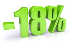 18% discount on a white. Green 18% discount icon on a white background. 3d rendered image Stock Photography
