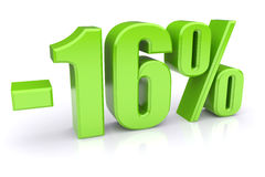 16% discount on a white. Green 16% discount icon on a white background. 3d rendered image Royalty Free Stock Images