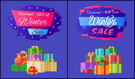 Discount 25, 45 Winter Sale Poster with Advert Box. Discount -25 , -45 winter sale poster with advertisement label with snowballs, pile of presents in decorative Royalty Free Stock Photo
