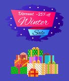 Discount 25 Winter Sale Poster with Advert Present. Discount -25 winter sale poster with advertisement label with snowballs, pile of presents in decorative Royalty Free Stock Photos