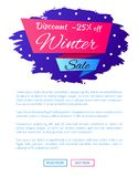 Discount - 25 Winter Sale Web Poster Label Design. On blue background with snowflakes, vector illustration web buttons on landing page, place for text Stock Photos
