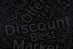 Discount ,Word cloud art on blackboard.  royalty free stock photography