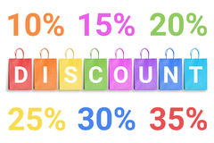 Discount word written on colorful shopping bags and percentage numbers Stock Photos