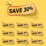 Discount yellow labels. With red frame stock illustration