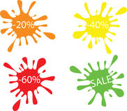 Discounts. 20%,40%,60% and SALE,on white background Stock Photos