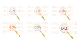 Discounts. Are considered the gold magnifying glass Stock Images