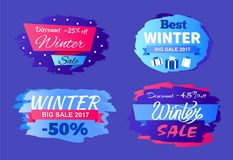 Discounts Best Winter Sale 2017 Special Offer Set. Discounts best winter big sale 2017 special offer -45 50 vector seasonal labels with info about price Royalty Free Stock Image