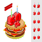 Discounts birthday when buying hamburger.. Candles and figures for sales. Reducing cost of burger on day of birth. Fast food and rooms set isometrics Stock Image