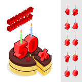 Discounts for birthday. Chocolate Cake. And Candles and figures for sales. Piece of cake and cherry. Reducing cost of ake on day of birth. Dessert and set of stock illustration
