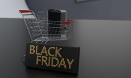 Discounts on Black Friday concept phone, 3d rendering. Discounts on Black Friday concept phone, 3d render Royalty Free Stock Image