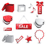 Discounts and boxes Stock Photos
