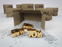Discounts in boxes stock photo