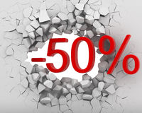 Discounts break wall Royalty Free Stock Images