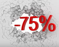 Discounts break wall Stock Photography