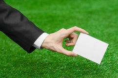 Discounts and business topic: hand in a black suit holding a white blank card on green grass background Royalty Free Stock Photography