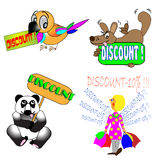 Discounts -a cartoons to illustrations. Discounts for selling- merry drawings-symbols Stock Photography