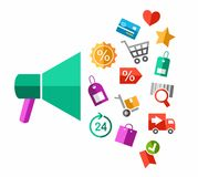 Discounts, closeout, color illustration, flat. Royalty Free Stock Photo
