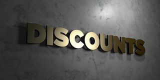 Discounts - Gold sign mounted on glossy marble wall  - 3D rendered royalty free stock illustration Stock Image