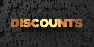 Discounts - Gold text on black background - 3D rendered royalty free stock picture. This image can be used for an online website banner ad or a print postcard royalty free illustration