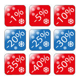 Discounts on goods as a percentage of sales winter discounts stock photo