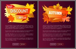 Discounts Offer Special Price Invitation Vouchers. On autumn big sale 2017, fall collection web banners with buttons read more and buy now vector set Royalty Free Stock Image