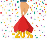 Discounts opening concept. 20 discount. Discounts opening concept. Man hold hand red silk cloth, opening 20 percent. Colorful falling confetti isolated on white Stock Photography