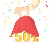 Discounts opening concept. Man hold hand a red silk cloth, opening 50 percent discount. Stock Photos